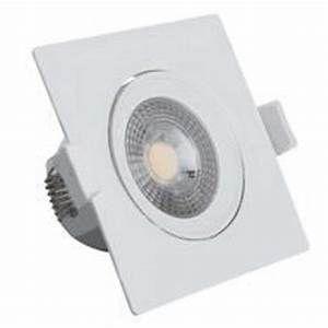 Spot Led Dicróica Direcionável Embutir Quadrado COB 3W PVC Branco Quente 3000K Bivolt