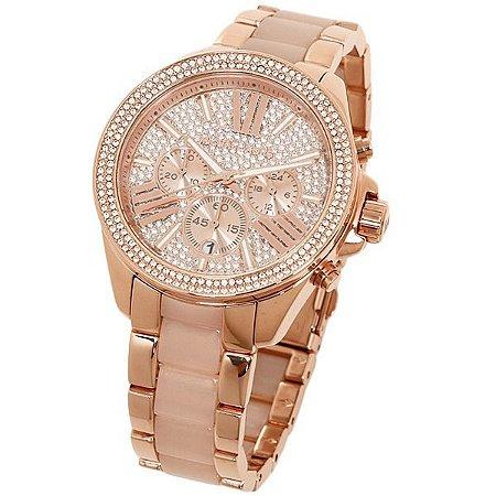 Relógio Feminino Michael Kors MK6096 Ouro Rose Cravejado