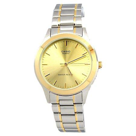 9c373942ad6 Relógio Unissex Casio Modelo MTP-1128G-9ARDF Prata Fundo Dorado ...