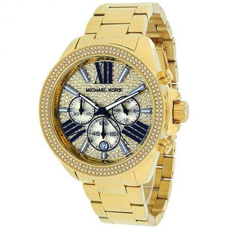 9c1ec771bc4 Relógio Feminino Michael Kors MK6095 Dourado Cravejado - Mimports ...