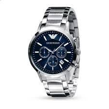 Relógio Masculino Emporio Armani Watches Ar2448 One Size Prata Fundo Azul