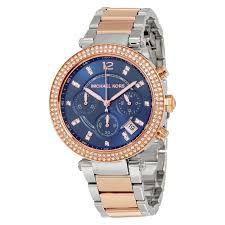 5b8f5cdc2a4 Relógio Feminino Michael Kors MK6141 Prata Rose Fundo Azul ...