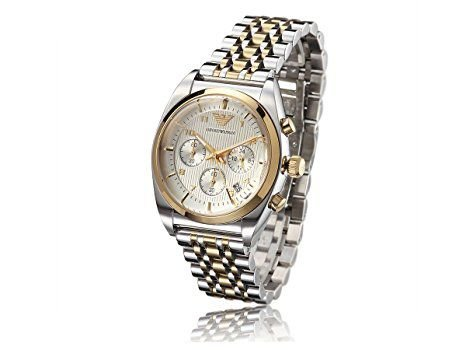 Relógio Masculino Emporio Armani AR0396 Mens Two-tone Classic Gold Stainless Steel Watch