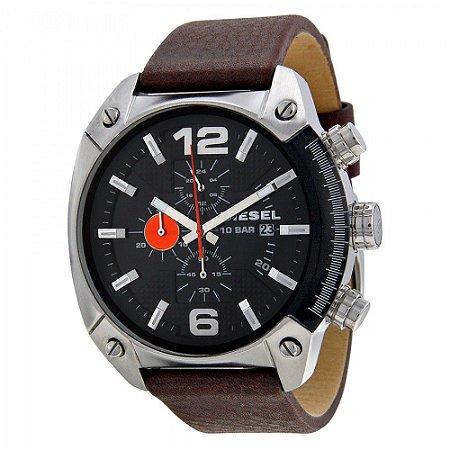 Relógio Masculino Diesel DZ4204 Couro Fundo Preto
