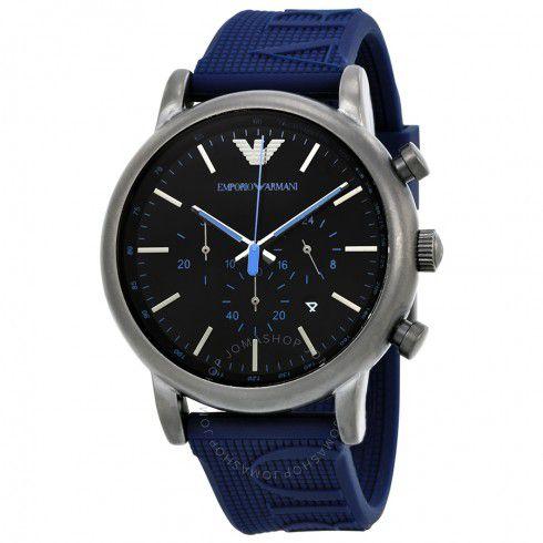 Relógio Masculino Empório Armani AR11023 Pulseira Azul Fundo Preto