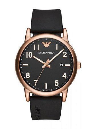 Relógio Masculino Empório Armani AR11097 Pulseira Preta Fundo Preto