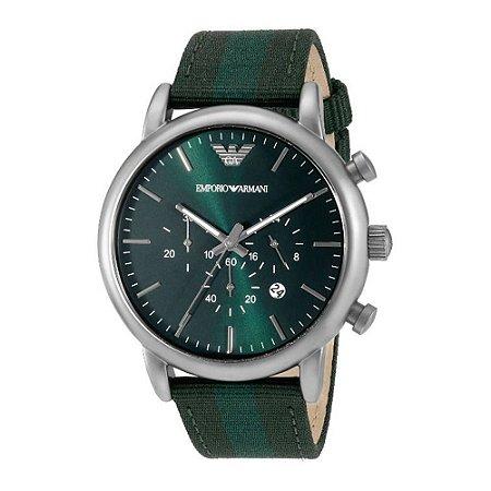 152f6e94b3b Relógio Masculino Empório Armani Ar1950 pulseira verde Fundo Verde ...