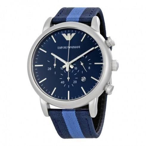 Relógio Masculino Empório Armani Ar1949 pulseira Azul Fundo Azul