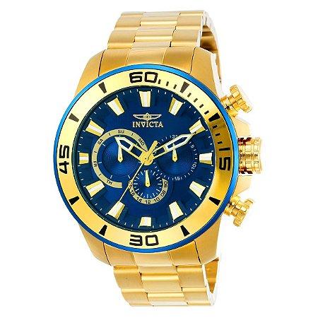 Relógio Masculino Invicta Pro Diver 22587 Ouro 18K