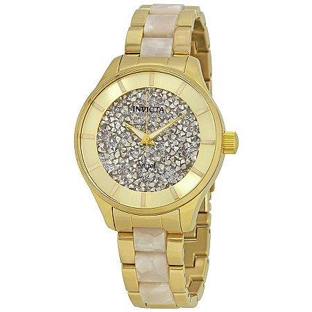 Relógio Feminino Invicta Angel 24666 Dourado Cravejado