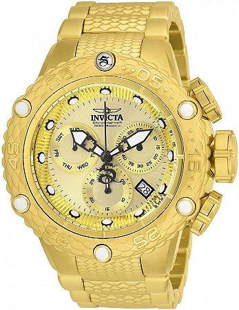 Relógio Masculino Invicta 26648 Subaqua Dragon Swiss Banhado Ouro 18k