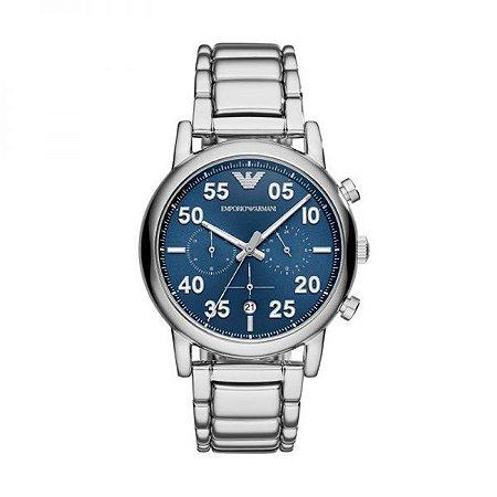 Relógio Masculino Empório Armani Ar11132 Prata Fundo Azul