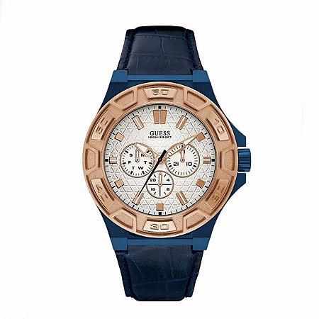Relógio Masculino Guess W0674g7 Couro Azul