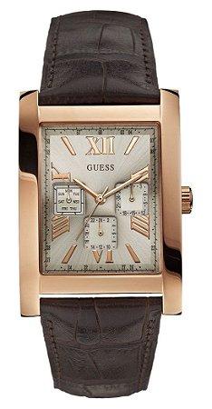Relógio Masculino Guess W0370g3 Couro