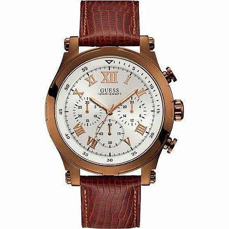 Relógio Masculino Guessw 1105g2 Couro