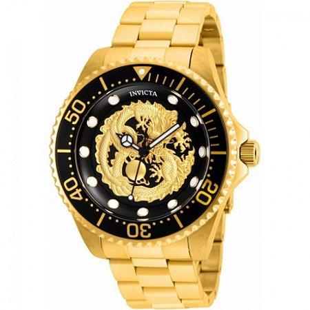 Relógio Masculino invicta Pro Diver Dragon 26490 Dourado