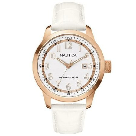 Relógio Feminino Nautica A16621G Couro branco
