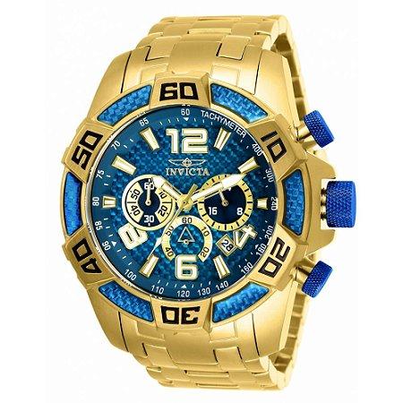 Relógio Masculino Invicta Pro Diver 25852 Ouro 18k Com Azul