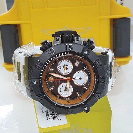 Relógio Masculino invicta Character Collection 25000 Pulseira branca Fundo Laranja