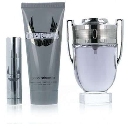 Kit Perfume Paco Rabanne Invictus Edt 100ml + Mini 10ml + Gel de Banho 75ml