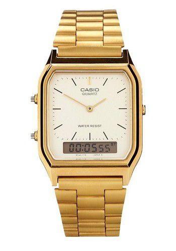 Relógio unissex casio aq230ga-9d dourado