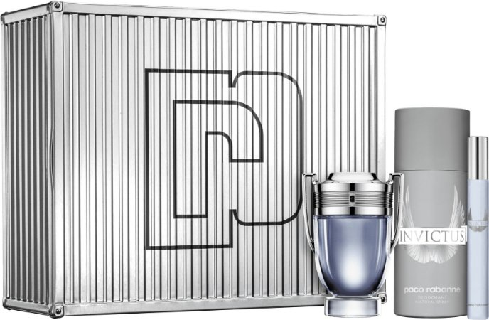 Kit Invictus Paco Rabanne Masculino - Eau de Toilette 50ml + Desodorante 150ml + Travel Size 10ml
