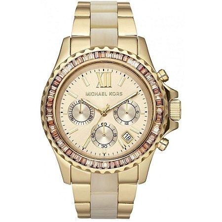 Relógio Feminino Michael Kors MK5874 Dourado Cristais Oversized Madreperola