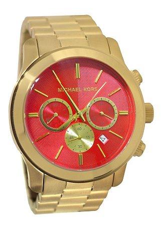 Relógio Feminino Michael Kors MK5930 Dourado Fundo Vermelho