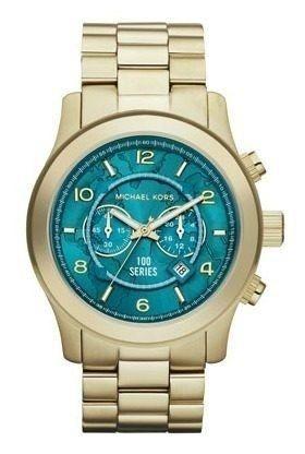 Relógio Feminino Michael Kors MK8315 Serie 100 Dourado Turquesa