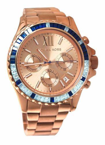 Relógio Feminino Michael Kors MK5755 Everest Rose Cristais Blue