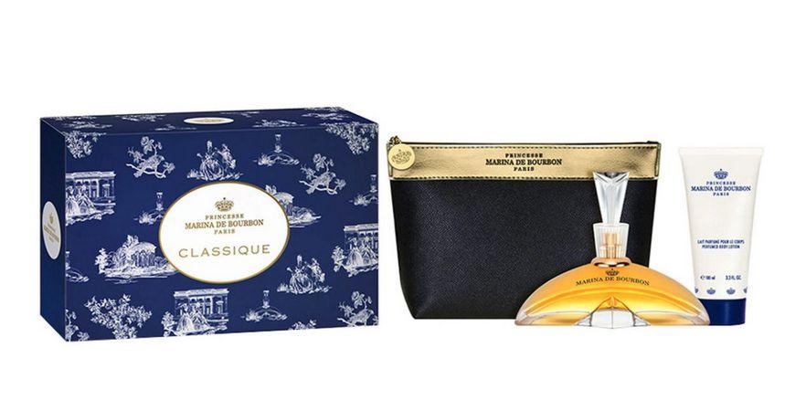 Kit Perfume Marina de Bourbon Classique 100ml + Loção Corporal 150ml + Nécessaire