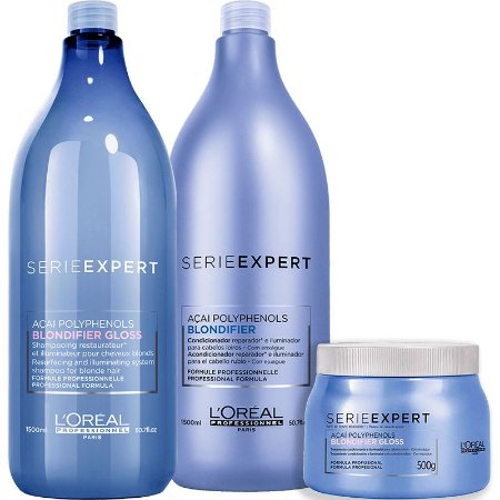 Kit L'Oréal Professionnel Serieexpert Blondifier Gloss Shampoo 1500ml + Condicionador 1500ml + Mascara 500ml