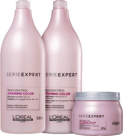 Kit L'Oréal Professionnel Serieexpert Resveratrol Vitamino Color Shampoo 1500ml + Condicionador 1500ml + Mascara 500ml