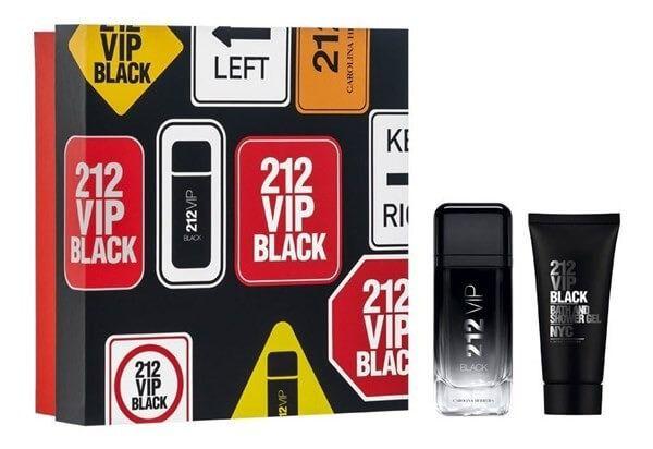 Kit Perfume Masculino Carolina Herrera 212 Vip Black Edp 100ml + Gel de banho 100ml