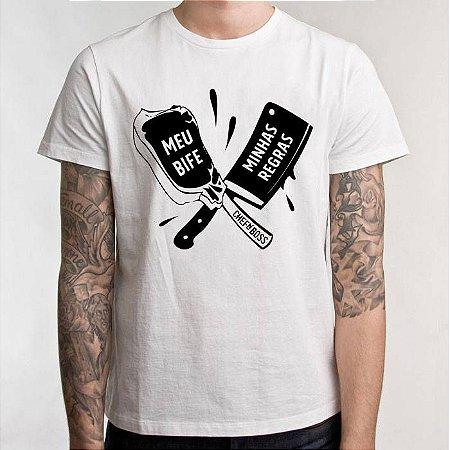 """Camiseta Chefn' Boss: """"Meu Bife Minhas Regras"""""""
