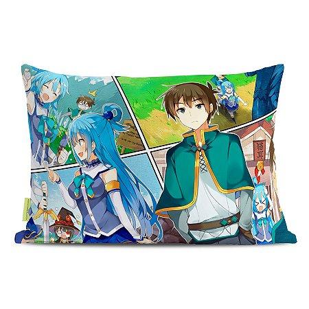 Fronha Travesseiro Konosuba Aqua e Kazuma