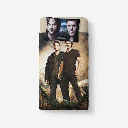 Lençol Solteiro e fronha Supernatural Sam e Dean