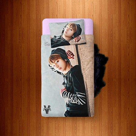 Lençol Solteiro e fronha BTS V (Taehyung)