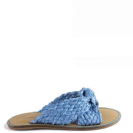 Rasteira tira cruzada palha natural Cláudia Mourão Azul