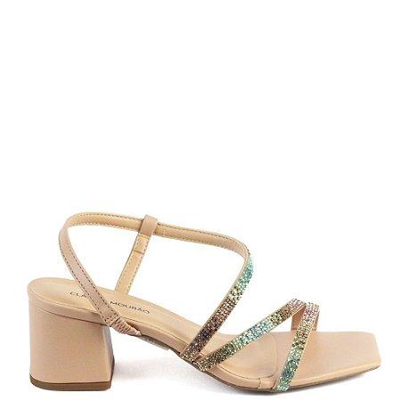 Sandália salto bloco com brilhos Cláudia Mourão Bege