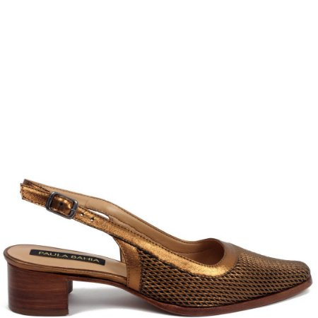 Scarpin Chanel Paula Bahia (BD4430) Laminado Bronze