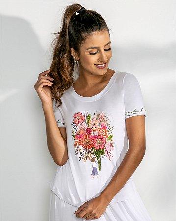 T-Shirt Bordada (BO3541) Branco