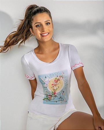 T-Shirt Bordada (BO3641) Branco