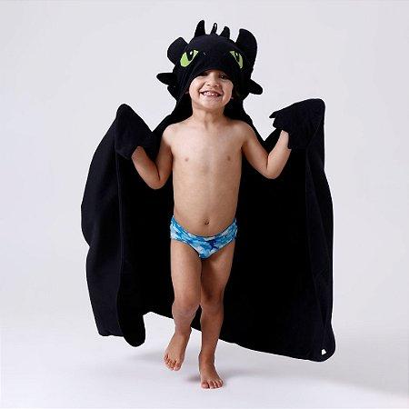 Toalha de Banho com Capuz e Asas -  Dragão Fúria da Noite - Infantil