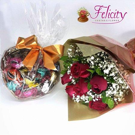Buquê 6 rosas e coração de trufas Cacau Show