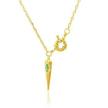 Colar Dente e Cristal Esmeralda com Fecho Bóia Folheado Ouro Amarelo 18K