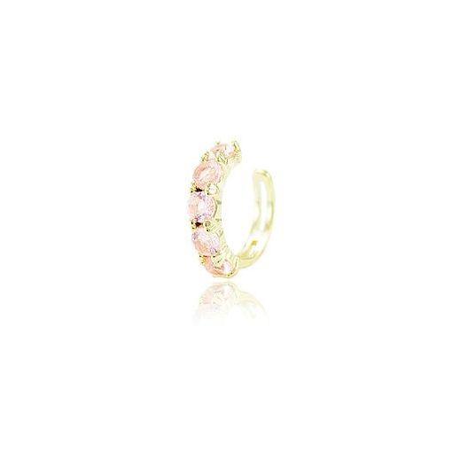 Piercing Fake Turmalina Rosa CANDY COLOR Folheado Ouro Amarelo 18K