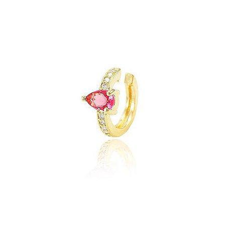 Piercing Fake Gota Pink e Microzircônias Folheado Ouro 18K