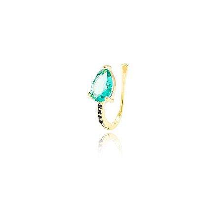 Piercing Fake Gota Esmeralda e Microzircônias Pretas Folheado Ouro 18K