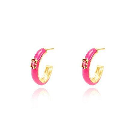 Brinco Argola Resina Pink M Folheado Ouro Amarelo 18K